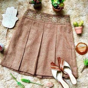 {LOFT Petites} Copper Tweed Embellished Wool Skirt